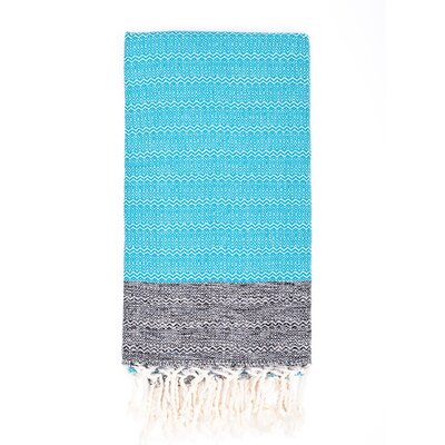 Turkish Premium Weave Peshtemal Beach Towel Color: Turquoise