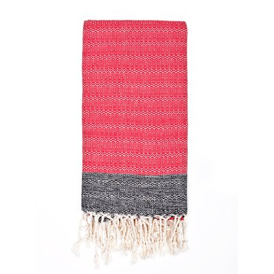 Turkish Premium Weave Peshtemal Beach Towel Color: Red