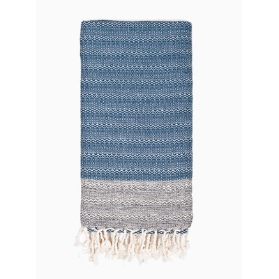Turkish Premium Weave Peshtemal Beach Towel Color: Navy
