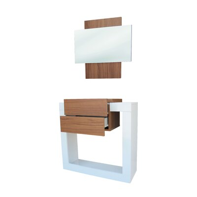 Quirion Console Table and Mirror Set Finish: White/Walnut