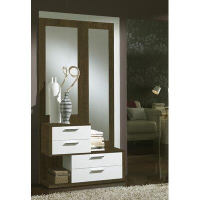 Zenon 4 Drawer Dresser with Mirror Color: Natur/White
