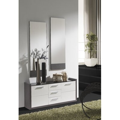 Zylstra 4 Drawer Combo Dresser with Mirror Color: Ash/White