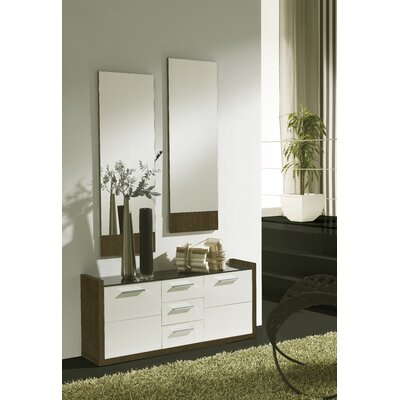 Zylstra 4 Drawer Combo Dresser with Mirror Color: Natur/Blanco