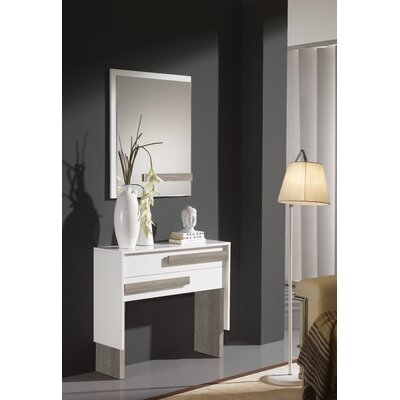 Acrodectes Console Table and Mirror Set Finish: White/Eco