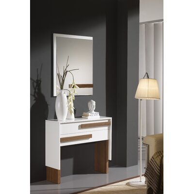 Acrodectes Console Table and Mirror Set Finish: White/Walnut