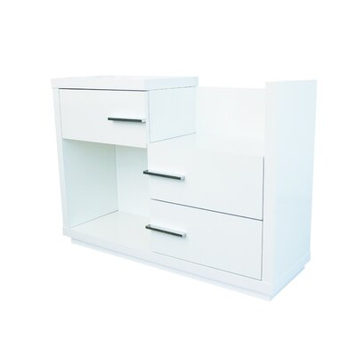 Mestas 3 Drawer Dresser with Mirror Color: White