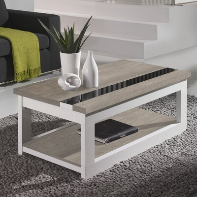 Tibbits Coffee Table with Lift Top Color: Ash/White