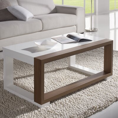 Juneau Coffee Table with Lift Top Color: White/Walnut