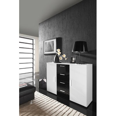 Beno Sideboard Color: White/Black Drawer