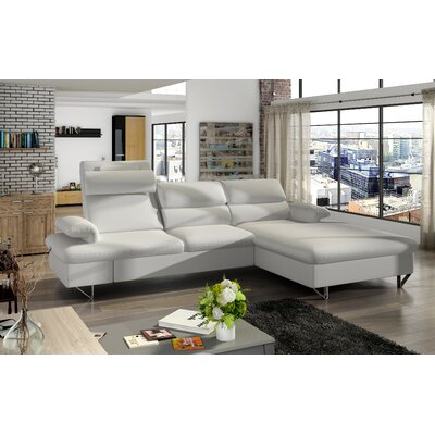 Klar Sleeper Sectional Upholstery: White, Orientation: Right Hand Facing