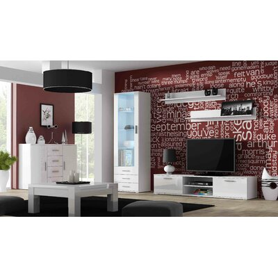 Jedicke 5 Piece Entertainment Center Set Color: White