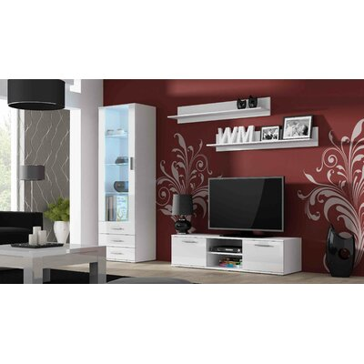 Jedicke 4 Piece Entertainment Center Set Color: White