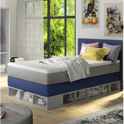 Extra Long Twin Platform Bed with Mattress Color: Blue