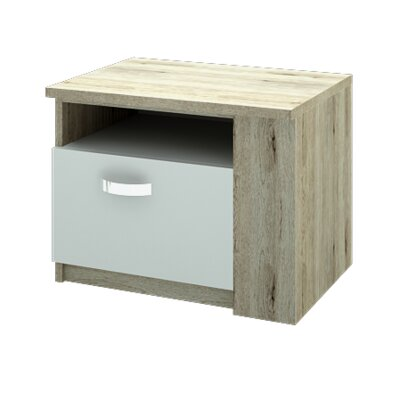 Fulford Nightstand Door Configuration: Right, Color: Natural Sonoma Oak/Matte White