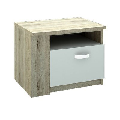 Fulford Nightstand Door Configuration: Left, Color: Natural Sonoma Oak/Matte White