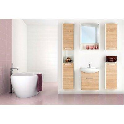 Helmore 54 Single Bathroom Vanity Set with Mirror and Cabinet Base Finish: Sonoma Oak/White