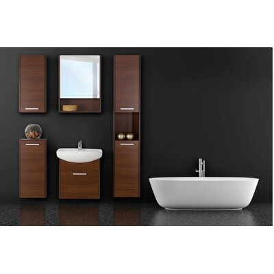 Helmore 54 Single Bathroom Vanity Set with Mirror and Cabinet Base Finish: Cherry Malaga