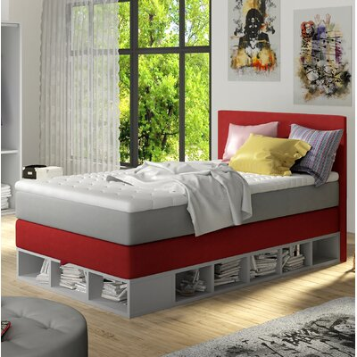 Extra Long Twin Platform Bed with Mattress Color: Red
