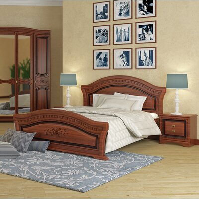 Cormiers European Panel Bed with Mattress Color: Walnut