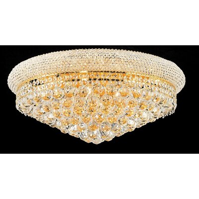 Cilla 11-Light Flush Mount Fixture Finish: Gold