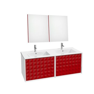 Jager 46.3 Double Bathroom Vanity Set Base Finish: Red