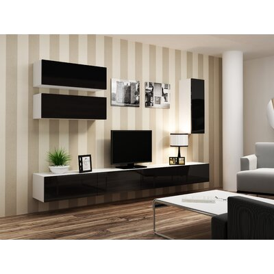 Jaggers 70.8 TV Stand and 2 Wall Cabinets Color: White/Black