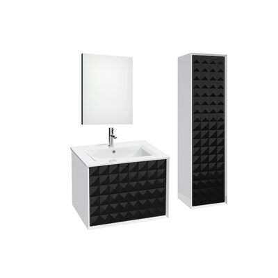 Jager 35.3 Single Bathroom Vanity Set with Mirror Base Finish: Black