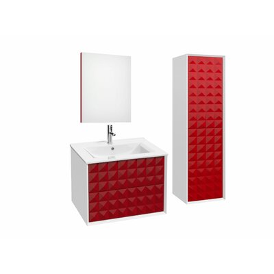Jager 35.3 Single Bathroom Vanity Set with Mirror Base Finish: Red