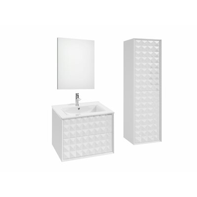 Jager 35.3 Single Bathroom Vanity Set with Mirror Base Finish: White