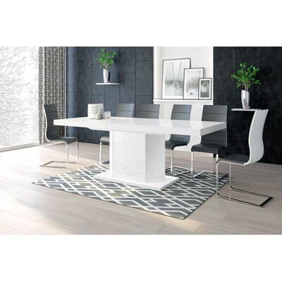 Borough Storage Extendable Dining Table Color: White/White