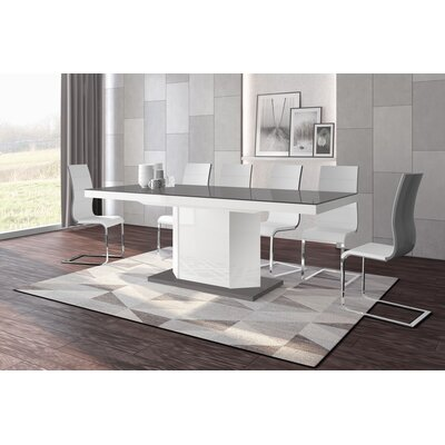 Borough Storage Extendable Dining Table Color: Gray/White