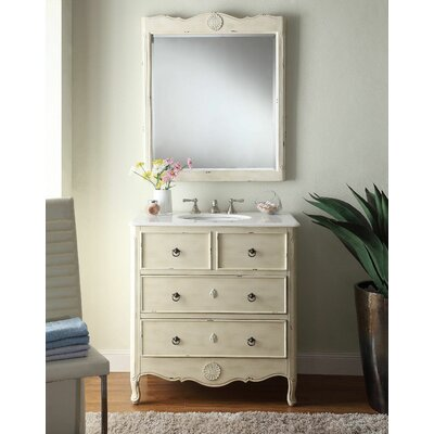 Nallely 34 Single Solid Wood Bathroom Vanity Set with Mirror