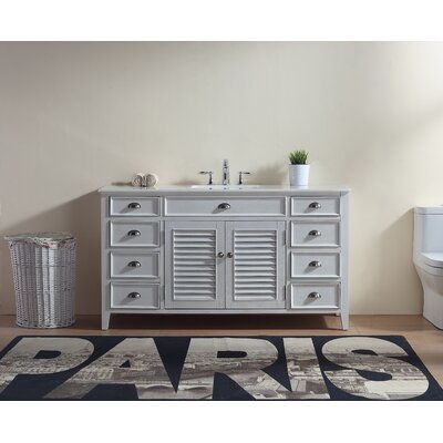 Foret 60 Single Bathroom Vanity Set Base Finish: White
