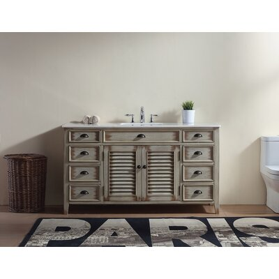 Foret 60 Single Bathroom Vanity Set Base Finish: Cream