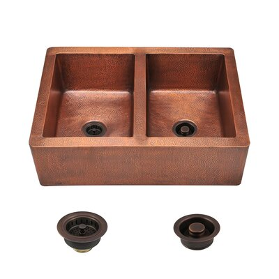 35 x 25 Double Basin Farmhouse/Apron Kitchen Sink with Drain Assembly
