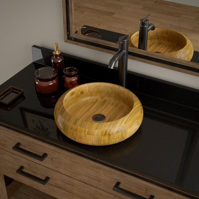 Circular Vessel Bathroom Sink with Faucet Faucet Finish: Antique Bronze