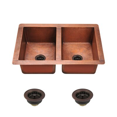 33 x 22 Double Basin Undermout Kitchen Sink with Drain Assembly
