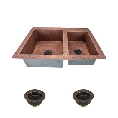 33 x 22 Double Basin Undermount Kitchen Sink with Drain Assembly