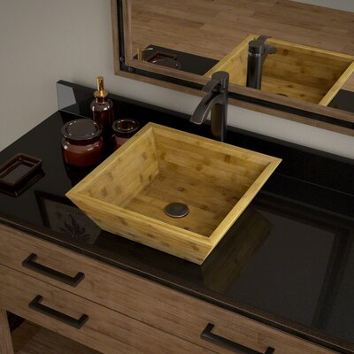 Square Vessel Bathroom Sink with Faucet Faucet Finish: Antique Bronze