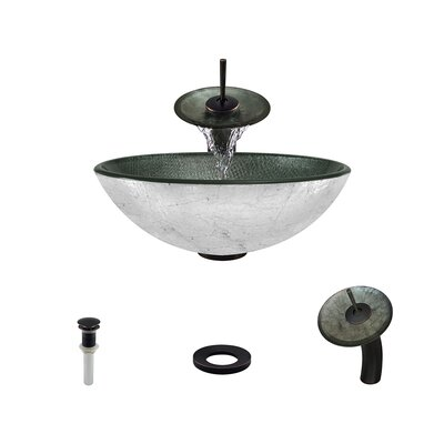 Mesh Glass Circular Vessel Bathroom Sink with Faucet Faucet Finish: Antique Rubbed Bronze