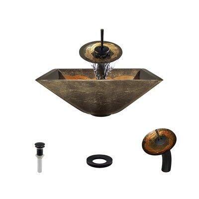 Foil Undertone Glass Square Vessel Bathroom Sink with Faucet Faucet Finish: Antique Rubbed Bronze
