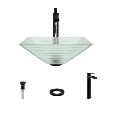 Tiered Glass Square Vessel Bathroom Sink with Faucet Faucet Finish: Antique Rubbed Bronze