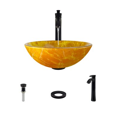 Double Layer Glass Circular Vessel Bathroom Sink with Faucet Faucet Finish: Antique Rubbed Bronze
