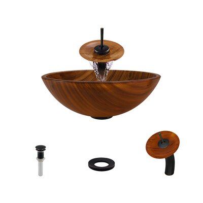 Wood Grain Glass Circular Vessel Bathroom Sink with Faucet Faucet Finish: Antique Rubbed Bronze
