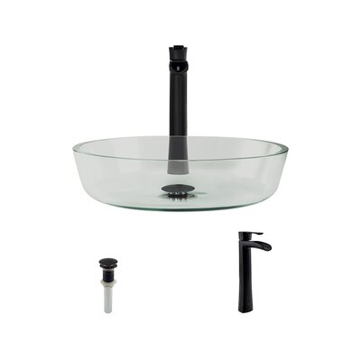 Glass Circular Vessel Bathroom Sink with Faucet Faucet Finish: Antique Rubbed Bronze