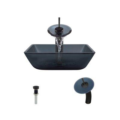 Translucent Black Glass Square Vessel Bathroom Sink with Faucet Faucet Finish: Antique Rubbed Bronze