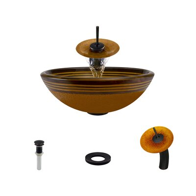 Hand Painted Glass Circular Vessel Bathroom Sink with Faucet Faucet Finish: Antique Rubbed Bronze
