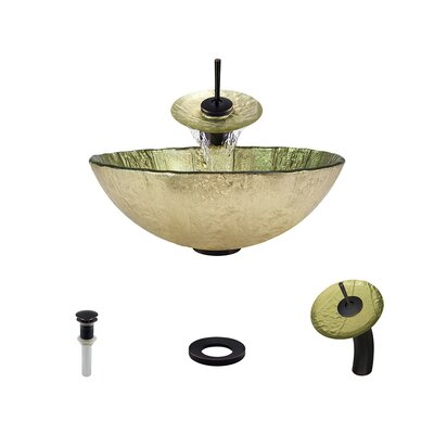 Gold Foil Glass Circular Vessel Bathroom Sink with Faucet Faucet Finish: Antique Rubbed Bronze