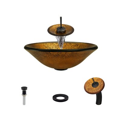 Foil Undertone Glass Circular Vessel Bathroom Sink with Faucet Faucet Finish: Antique Rubbed Bronze