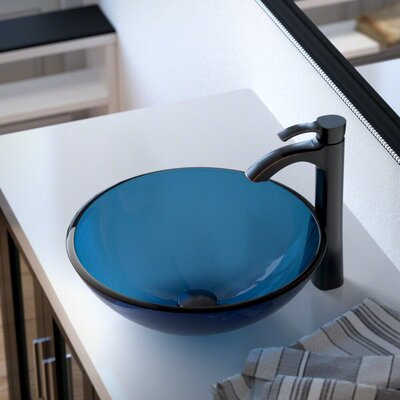 Glass Circular Vessel Bathroom Sink with Faucet Sink Finish: Aqua, Faucet Finish: Antique Rubbed Bronze